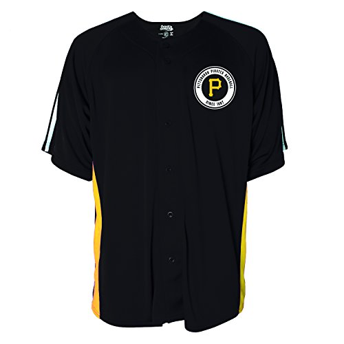 MLB Pittsburgh Pirates Men's Button Down Fashion Jersey, Black, Large