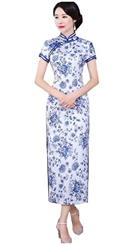 Skinny Coolred Print Style Chi pao Chinese As4 Split Women Dresses High Retro p7pZfRqw