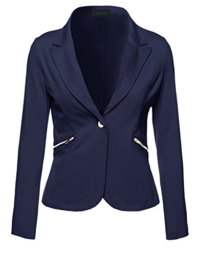 Business+Office+Wear+Long+Sleeve+One+Button+Fly+Blazer+Navy+S+Size