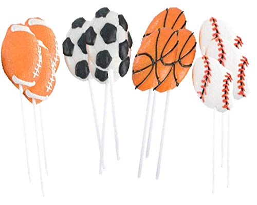 PlayO Kids Sports Lollipops - Pack of 12 Children Sports Ball Sucker Lollipops Party Favors - Sports Birthday Party Lollipops