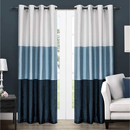 Exclusive Home Curtains Chateau Striped Faux Silk Window Curtain Panel Pair with Grommet Top, 54x108, Indigo, 2 Piece (Silk Ready Panels Drapery Made)