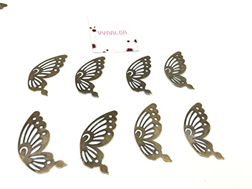 YYaaloa 50pcs 18x42mm Butterfly Wings Charms Pendant for Necklace BraceletCrafting Jewelry Making Accessory (50pcs Bronze wings)