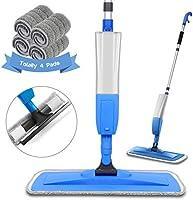 Balais Serpillère, Bellababy Spray Mop avec 4 Tampons de Vadrouille de Rechange, Balai Plat pour la Maison, la Cuisine,...