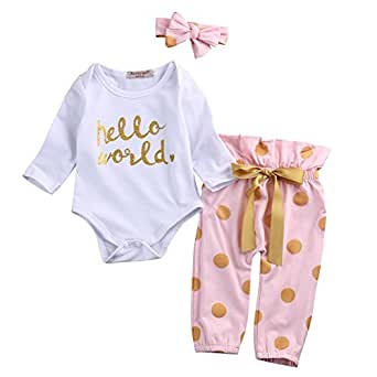 3Pcs Infant Newborn Baby Girls HELLO WORLD Romper Tops+Pants Clothes Outfit Sets (0-6 Months)