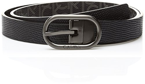 Calvin Klein Women's 25mm Reversible Embossed Belt, Logo Brushed Gun/Black, Medium Calvin Klein Embossed Belt