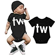FDelinK Newborn Infant Baby Boys Girls Clothes Bodysuit Twins Letter Print Romper Creepers Jumpsuit Outfits (Black-tw, 3-6 Months)