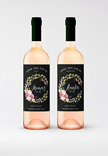 - CUSTOM Drink This For Me - You're An Auntie-To-Be Wine Labels, Pregnancy Announcement Wine Label, Alternative to Birth Announcement Card - Baby Announcement Card, Pregnancy Reveal WATERPROOF A900-D4Me