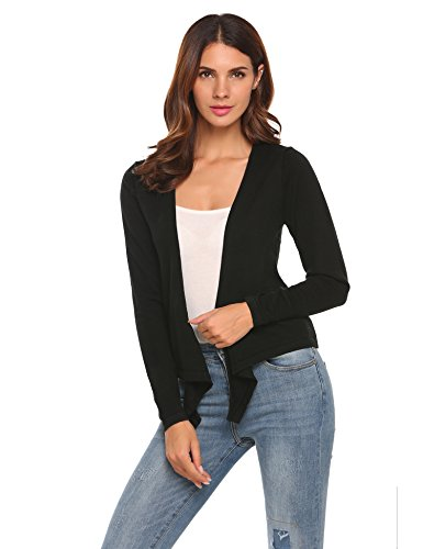 Women's Classic V-Neck Open Front Cropped Cardigan