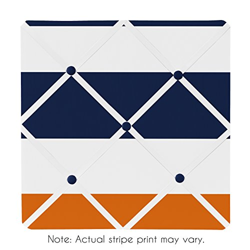 Sweet Jojo Designs Navy Blue, Orange and White Fabric Memory/Memo Photo Bulletin Board for Stripe Collection by Sweet Jojo Designs