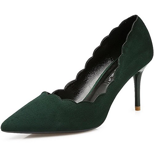 AalarDom Womens Frosted Spikes-Stilettos Pointed-Toe Pull-On Pumps-Shoes Green-ruched 78Rpc