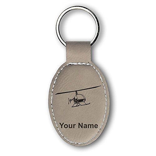 (Oval Keychain, Helicopter 2, Personalized Engraving Included (Light Brown))