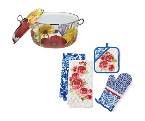 The Pioneer Woman 1-Piece Floral Garden Dutch Oven, 6.5qt bundle with The Pioneer Woman 4-Piece Heritage Floral Kitchen Towel, Oven Mitt, and Pot Holder