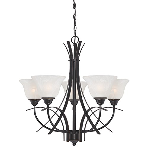 Bronze Finish 5 Light Chandelier (Westinghouse 6340400 Pacific Falls Five-Light Indoor Chandelier, Amber Bronze Finish with White Alabaster)