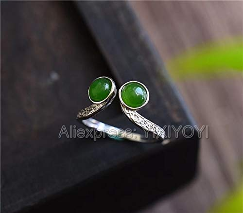 (Beautiful 925 Sterling Silver Green Jade Beads Inlay Lucky Ring   Charm Fine Jewelry for Woman)