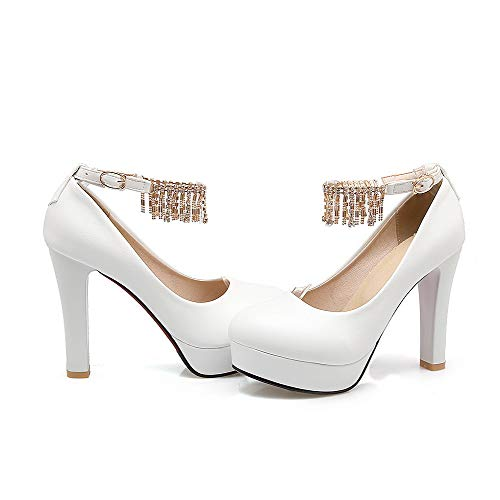 Trafilatura Fibbia AllhqFashion Bianco Flats Ballet Donna Tacco Chiusa FBUIDD008357 Alto Punta rqtpIt