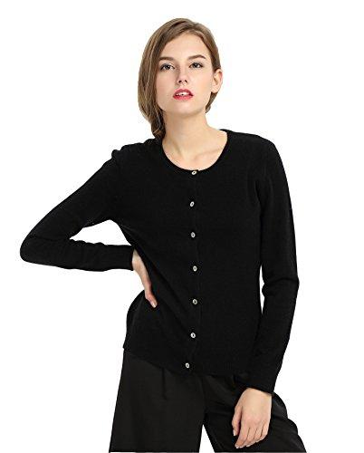 MIUK 2017 New Women's 100% Cashmere Cardigan Basic Slim Crewneck Sweater Black (2 Ply Cashmere Crewneck Sweater)