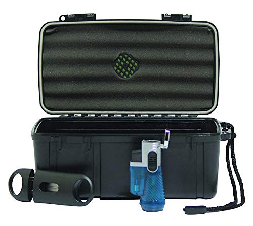 Cigar Caddy 5 Stick - F.e.s.s Fess Trident Medium Gift Set Holds up to 15ct Travel Cigar Humidor Waterproof Holder Case With 3Torch/V-Cut Cigar Cutter Set
