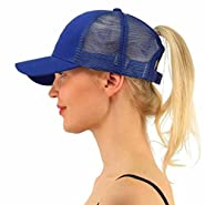 Challyhope Ponytail Messy Buns Mesh Trucker Ponycaps Adjustable Plain Baseball Visor Cap Dad Hat