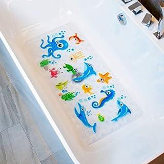 BEEHOMEE Bath Mats for Tub Kids - Large Cartoon Non-Slip Bathroom Bathtub Kid Mat for Baby Toddler Anti-Slip Shower Mats for Floor 35x16,Machine Washable XL Size Bathroom Mats (Blue-Octopus)