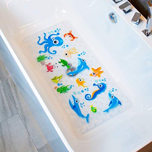 BeeHomee Bath Mats for Tub Kids – Large Cartoon Non-Slip Bathroom Bathtub Kid Mat for Baby Toddler Anti-Slip Shower Mats for Floor 35×16,Machine Washable XL Size Bathroom Mats (Blue-Octopus)