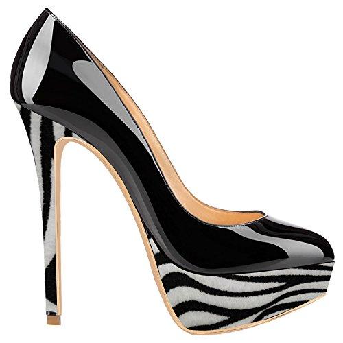 amp; Aooar Femme Schwarz Lackleder Zebra Chaussures Compensées Print rPPwxX8