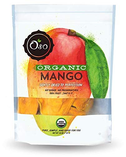 Oso Snacks - Organic Dried Mango Slices - No Added Sugar or Preservatives - Big Pieces Only - 26oz