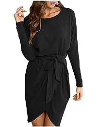 Women Casual Irregular Hem Pullover Loose Split Solid Sweater Dress with Belt
