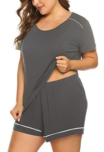 (IN'VOLAND Women's Plus Size Shorts Pajama Set Short Sleeve Sleepwear Nightwear Loungewear Pjs Sets Dark Gray)