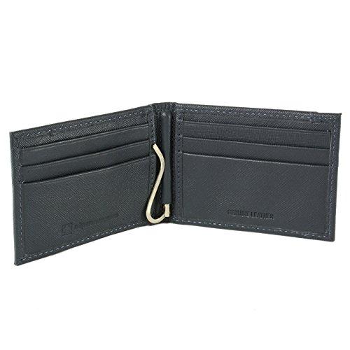 (alpine swiss Men's Genuine Leather Spring Loaded Bifold Money Clip Wallet, Crosshatch Gray, One Size)