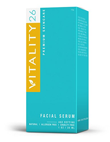Vitality26 Anti Aging Lifting Face Serum - Organic Anti Wrinkle Moisturizer - Hyaluronic Acid, Algae Extract, Monoi, Jojoba, Apricot Kernel & Perilla Oils - Rich in Omega 3 - 1 Oz