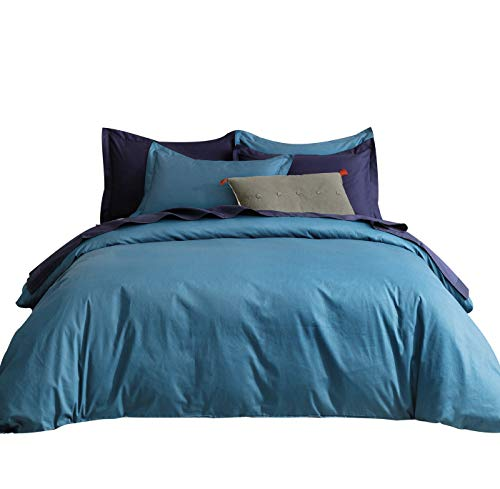 SUSYBAO 3 Pieces Duvet Cover Set 100% Natural Cotton King Size 1 Duvet Cover 2 Pillow Shams Solid Teal Luxury Quality Super Soft Breathable Hypoallergenic Fade Resistant Bedding with Zipper Ties