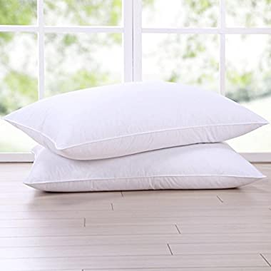 Puredown Goose Feather and Down Pillow, Queen Size Bed pillows, Set of 2
