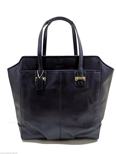 Coach Taylor North/South Tote Shoulder Leather Midnight Blue Handbag