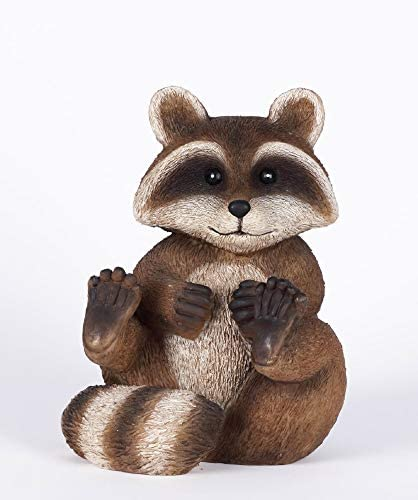 Hi-Line Gifts 11.25″ Brown and Black Playful Raccoon Garden Statue