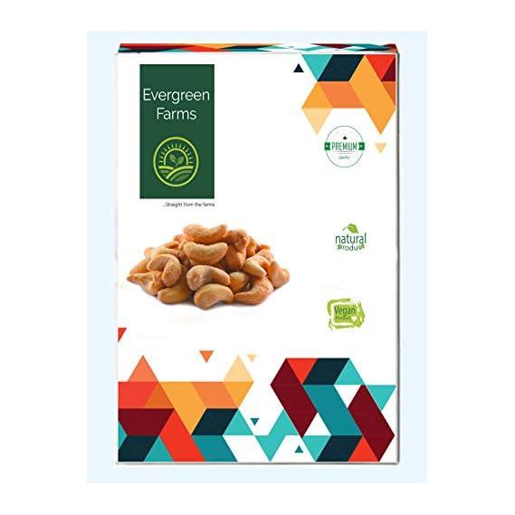 Evergreen Farms Fresh Whole Roasted and Salted Cashews Extra Crunchy Kaju 500 Grams