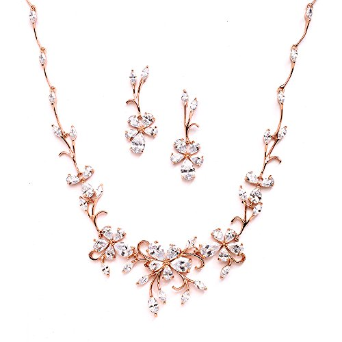 14k Gold Vine - Mariell Elegant Vine Rose Gold Necklace and Earrings Set for Weddings, Brides & Formals