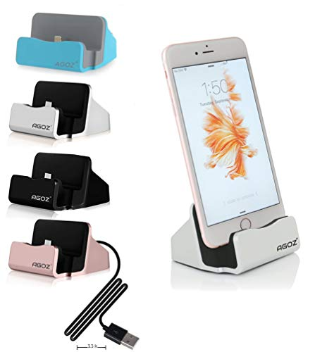 Agoz Desktop Charging Charger Dock Station Cradle Stand for Apple iPhone Xs MAX/XS / XR/X / 8 Plus / 8/7 / 7 Plus / 6/6 Plus / 6S/ 6S Plus / 5 / 5S / SE, iPad Mini 2/3 /4, iPod Touch (Silver)