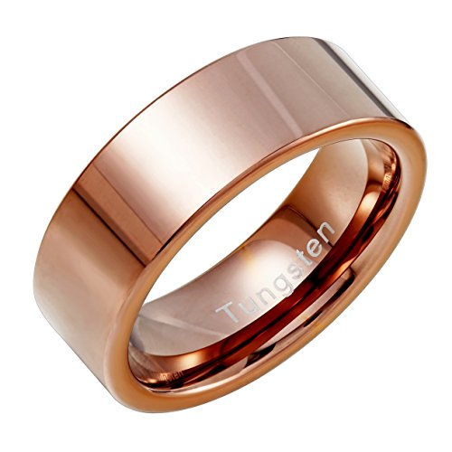 Bronze Ring - Urban Jewelry Plain Solid Tungsten Metal Bronze Engagement Wedding 8 mm Ring Band for Men (10)