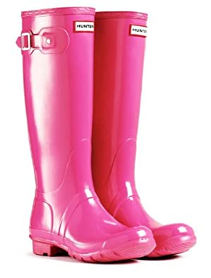 Hunter UK Size 6 Original Gloss Fuchsia Pink Shiney Wellies Ladies ...