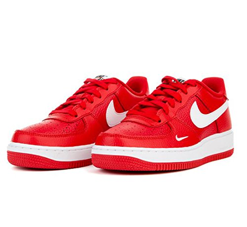 Nike Boys Air Force 1 Low Basketball Sneaker University Red/White-Black 7Y