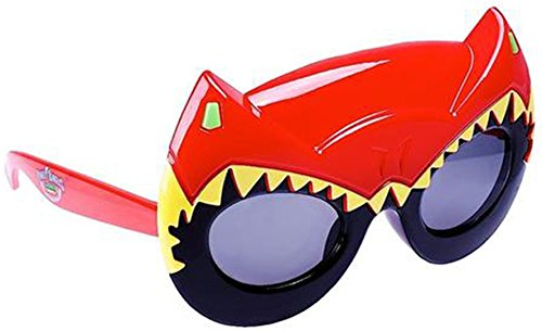 Sunstaches Mighty Morphin' Power Rangers Dino Charge Red Power Ranger Sunglasses, Party Favors, UV400 -