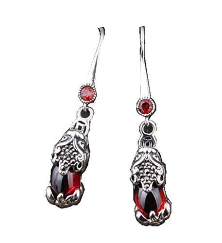 Chalcedony Floral Earrings - Micrkrowen Stone Brave Troops Chalcedony Silver Jewelry Earrings Eardrop(Red)