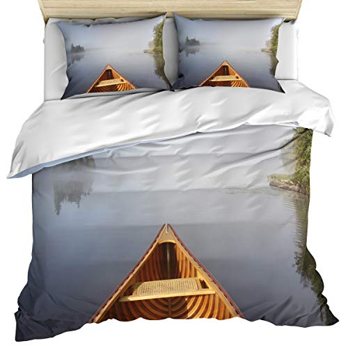 Landscape 3 Piece Bedding Set Comforter Cover Queen Size, Bow of Canoe on Lake of Two Rivers Ontario Canada, 3 pcs Duvet Cover Set Bedspread Daybed with Zipper Closure for Childrens/Kids/Teens/Adults ()