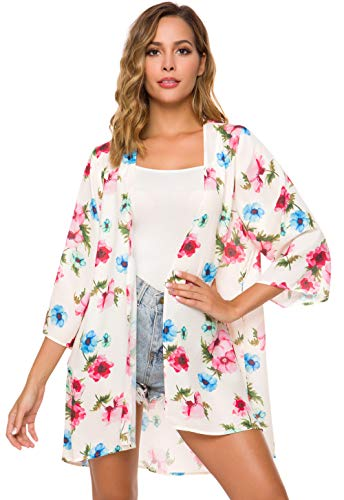 Tribear Women's Sheer Chiffon Kimono Cardigan Solid Casual Capes Beach Cover up (Large, Apricot Flower)]()