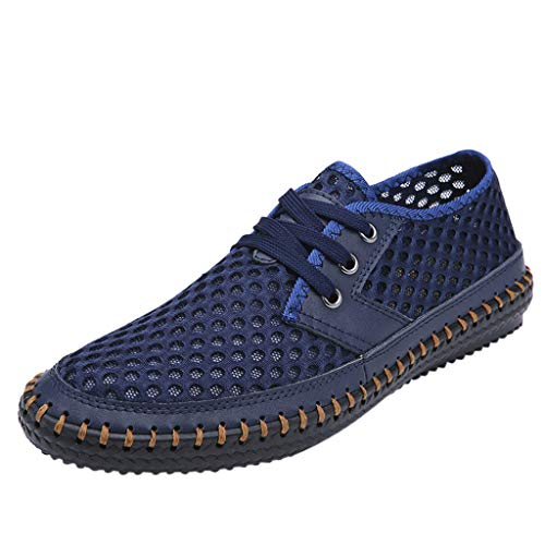 JUSTWIN Summer Shoes Casual Flat Shoes Fashion Breathable Soft Hollow Slipper Solid Color Lace-up Shoes Blue (The Leader Of The Chinese Red Army)
