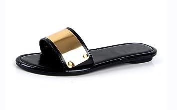 Ms. Wort Pantoffeln Strand Sandalen schlüpfen flachen Sandalen weiblichen minimalistisch , D , US6 / EU36 / UK4 / CN36
