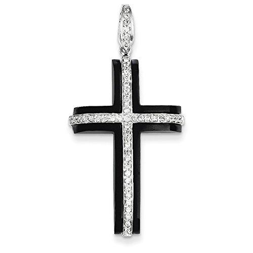 14k Gold Onyx Cross Pendant - 14k White Gold Diamond & Onyx Cross Pendant (Color H-I, Clarity SI2-I1)