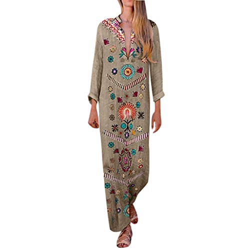 (Sexy Side Slit Bohemian Maxi Dress Women Cotton and Linen Print V-Neck Shift Boho Khaki )