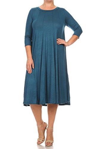Pastel by Vivienne Women's A-Line Trapeze Midi Dress Plus Size XXX-Large Teal