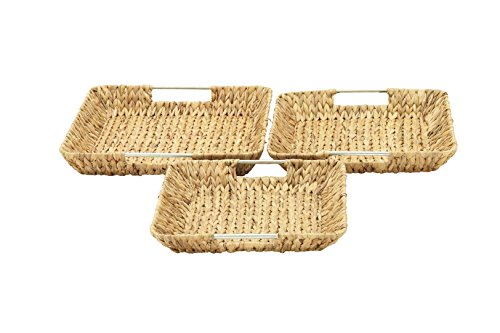 "Deco 79 41148 Sea Grass Storage Basket (Set of 3), 15""/16""/18""W - Color: silver Finish: polished, textured Material: aluminum - living-room-decor, living-room, baskets-storage - 41NbV3anbjL -"